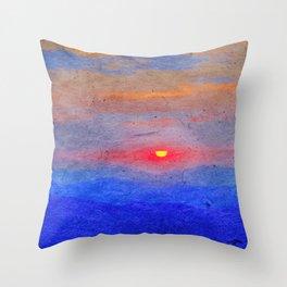 Paper-textured Sunset Throw Pillow