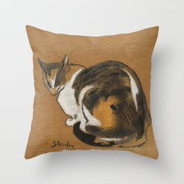 "Théophile Steinlen ""Cat love"" Throw Pillow"