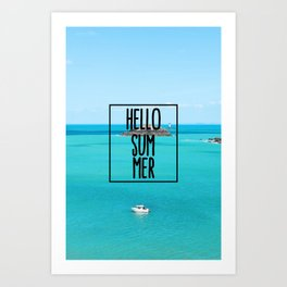 Hello Summer Typography with Turquoise Ocean Art Print