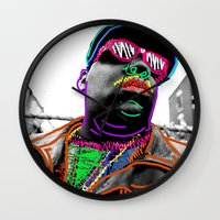 biggie Wall Clocks featuring Biggie by Kibwe Maono