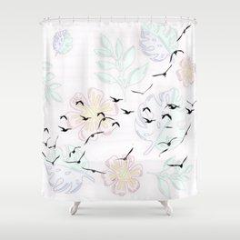 Trendy Birds pastel floral Shower Curtain
