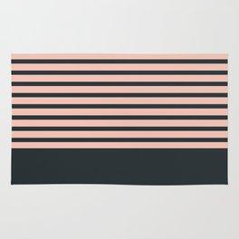 Navy stripes on pale pink Rug