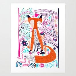 Folk Art Forest Fox Art Print