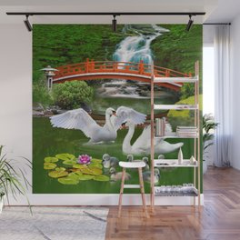 Swans and Baby Cygnets in an Oriental Landscape Wall Mural