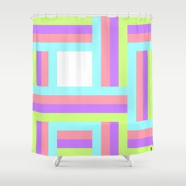 Colorful lines square pattern Shower Curtain