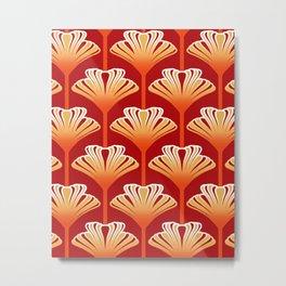 Art Deco Lily, Mandarin Orange and Gold Metal Print