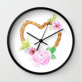 flower heart pink rose and daisy watercolor Wall Clock