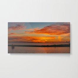 Sunset Sailboat Panorama Metal Print