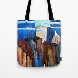 Alpine Verdon Canyon Trail mountain landscape painting by Marianne von Werefkin Tote Bag