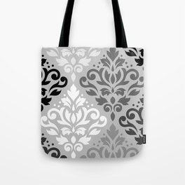 Scroll Damask Ptn Art BW & Grays Tote Bag