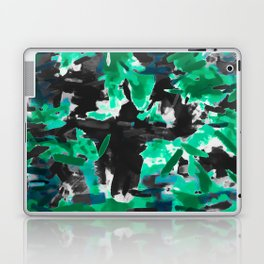 psychedelic vintage camouflage painting texture abstract in green and black Laptop & iPad Skin
