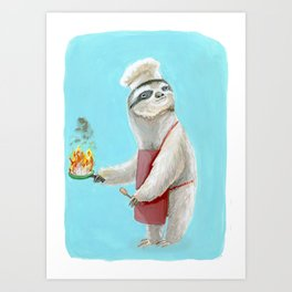 Sloths Are Bad At Things- Henri the Chef! Art Print