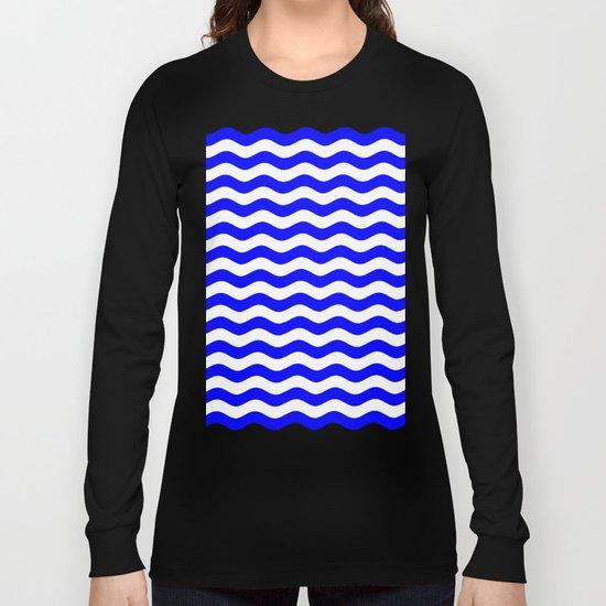Wavy Stripes (Blue/White) Long Sleeve T-shirt