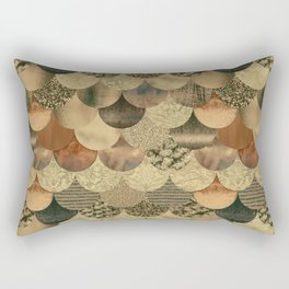 Brown Copper Glamour Mermaid Scale Pattern Rectangular Pillow