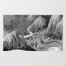 Moominvalley Map interpretation (Black & White) Rug