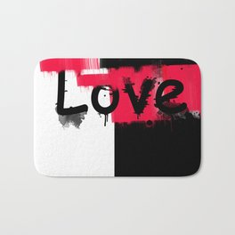 Black and red white pattern Love . Bath Mat