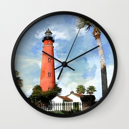 Red Lighthouse Watercolor Sketch Wall Clock
