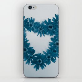 Dusty Blue Flower Heart iPhone Skin