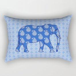 Paisley elephant, Cobalt Blue and White Rectangular Pillow