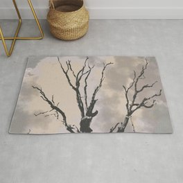 Stormy Skies, Abstract Art Tree Storm Clouds Rug