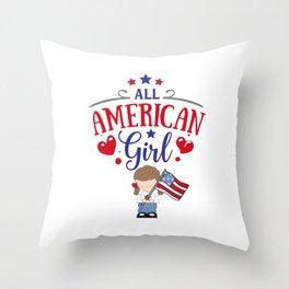 All American Girl Throw Pillow