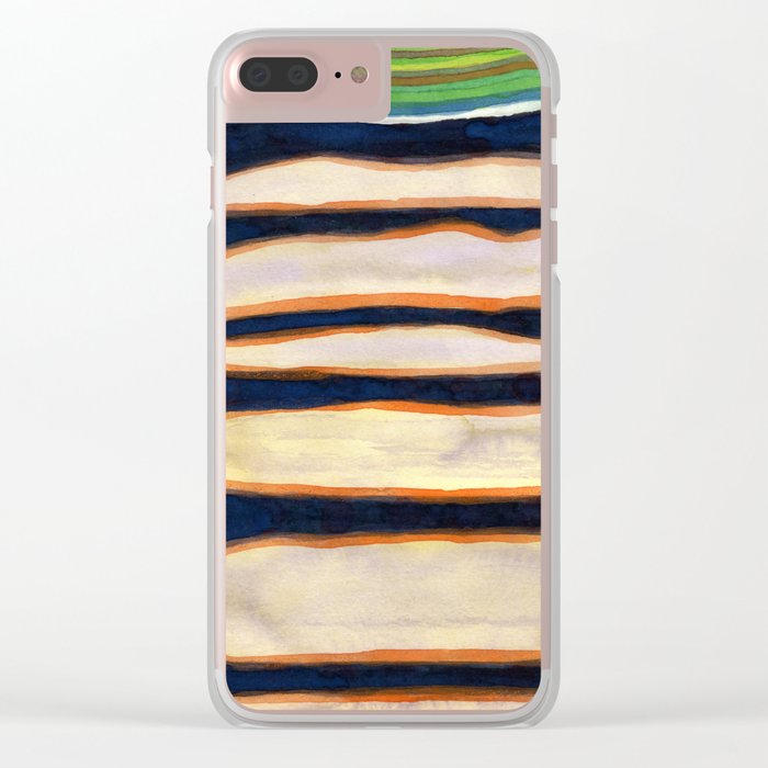 Green Cloud over Floating Shapes Clear iPhone Case