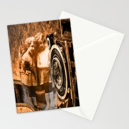 Vintage children photograph collage with vintage camera and film Stationery Cards