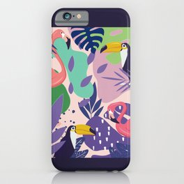 Tropical Jungle With Flamingos And Toucans Memphis Style iPhone Case