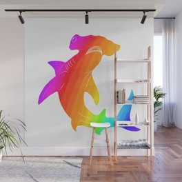 Rainbow hammerhead Wall Mural