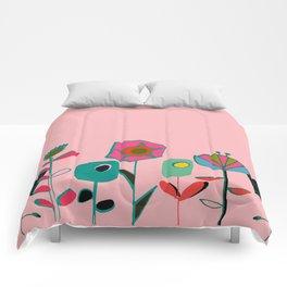 Mid century flowers pink Comforters