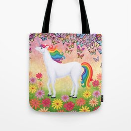 whimsy (rainbow unicorn), butterflies, African daisies Tote Bag