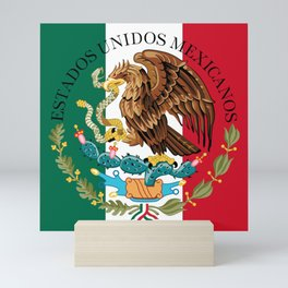 Flag of Mexico & Coat of Arms augmented scale Mini Art Print