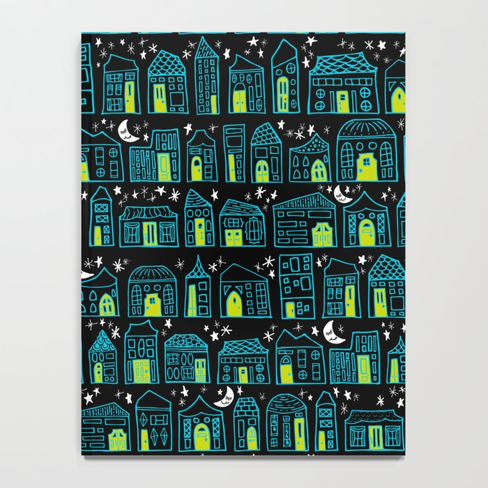 Starry Night in the City - Turquoise & Lime Notebook