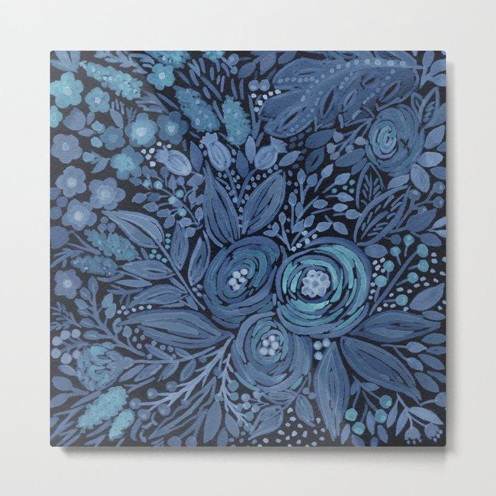 Watercolor .  Black and blue floral pattern . Metal Print