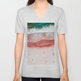 Pink Beach Print, Aerial Beach, Bondi Beach, Aerial Photography, Ocean Waves, Waves Print, Sea Print, Modern Home Decor Print Art Unisex V-Neck