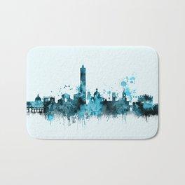 Bologna Italy Monochrome Blue Skyline Bath Mat