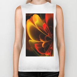 Stylized Half Flower Red Biker Tank