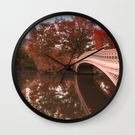 Central Park Fall Sunset Wall Clock