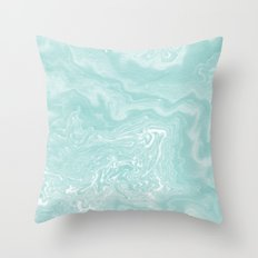 Moki - pastel mint spilled ink japanese watercolor paper marbling marble trendy abstract painting  Throw Pillow