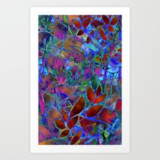 Floral Abstract Stained Glass G174 Art Print
