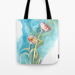 Blooms on Turquoise Tote Bag