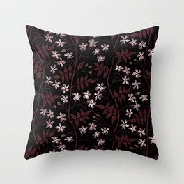 Star jasmine creeper - red, white and black Throw Pillow