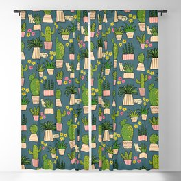 Cactus Cat Blue Garden Blackout Curtain