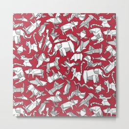 origami animal ditsy red Metal Print