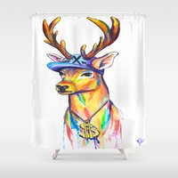 swag Shower Curtains featuring Swag Stag by Heather Hartley