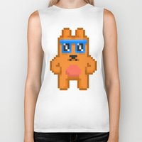 8bit Biker Tanks featuring 8Bit RaveBear by Bear Picnic