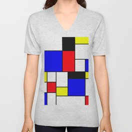 Red Blue Yellow Geometric Squares Unisex V-Neck
