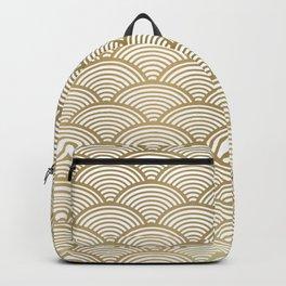Festive, Art Deco, Wave, Pattern, Gold Backpack