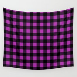 Plaid (Black & Purple Pattern) Wall Tapestry