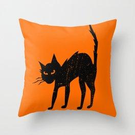 Vintage Halloween Scary Black Cat Throw Pillow